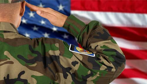 Soldier saluting flag.